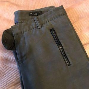 Club Monaco Dress Pants Leather Trim Skinny